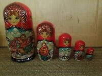 Vintage 5 Pc Set Wooden Russian Nesting Dolls Hand Painted Stamped  7.5""