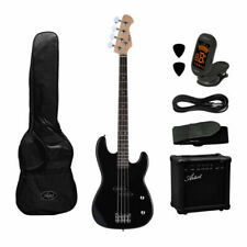 Artist PB2BK Black Electric Bass Guitar with BA15 15W Amplifier and Accessories