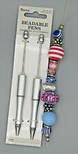 3 pc Beaded Pen Kit, 2 Silver Plastic pens, 1 Strand Large Hole Beads, B-A496