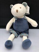 NEW JELLYCAT Bertie Bear BER4B White Bear Soft Toy Plush Blue Dungarees 24cm