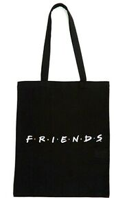 Black Logo Friends Canvas Tote Shopper Bag Secret Santa Gift Stocking Filler