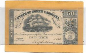 1862 NORTH CAROLINA CURRENCY 50 CENTS - Civil War Fractional Confederate Money