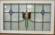 """OLD ENGLISH LEADED STAINED GLASS WINDOW Pretty Tulip Transom 30.75"""" x 19.25"""""""