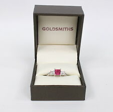 Goldsmiths 18 Carat White Gold 3/S 0.37 Carat Diamond and Pink Tourmaline Stone