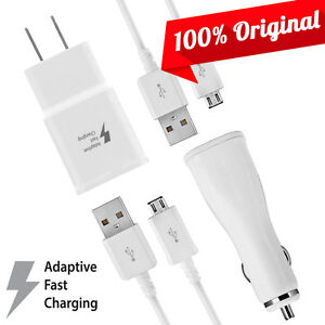 Original Samsung Galaxy S7/S7 Edge Fast Charger Kit Home + Car + 5FT Data Cables
