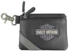 Harley-Davidson Women's Vintage B&S Embroidery Leather Coin Pouch VBS6281-GRYBLK