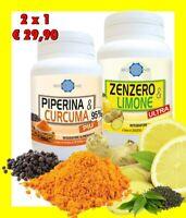 Piperina e Curcuma con Zenzero e Limone OFFERTA 2 CONFEZIONI Doppia EFFICACIA