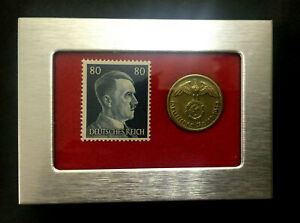 German  Rare 10 Rp Brass Coin with  Stamp in a Secure Metal Disp Frame