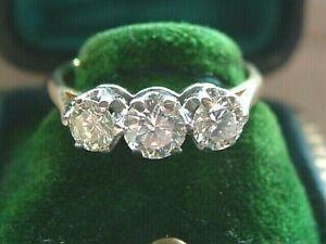 VINTAGE18ct Gold 3 Stone TRILOGY  Diamond RiNG   SIZE M   18CARAT