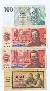 4 x Czechoslovakia bank notes : 10 Korun 1960, 50 Korun 1987, 100 Korun - 1997