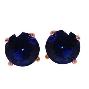 Dark Blue Sapphire 8mm Round Cz Studs 925 Men's/Unisex