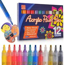 Paint Pens Acrylic Markers Set (12-Color)   For Rock Painting, Glass, Wood, and