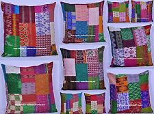 Lot Of 50 PC Kantha Cushion Indian Patchwork Silk Cushion Cover Pillow Cover 24""