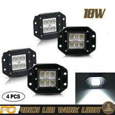 "4x4"" 18W Flush Mount LED Work Lights Flood Bumper Reverse Pods Tractor Truck 12V"