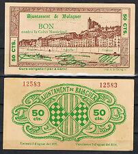 ESPAÑA - BILLETE DE BALAGUER 50 CTS. 1937   EBC  XF