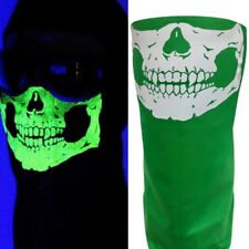 VELCRO®Brand ADJUSTABLE GLOW IN THE DARK GREEN SKULL FACE BANDANA WIND DUST MASK