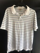 LL Bean Men's Striped Polo Shirt - White w/ Blue Stripes - Size Med R