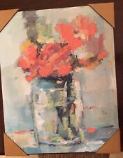 Portfolio Canvas Decor Leila 'Mason Jar Flowers' Framed Canvas Wall Art