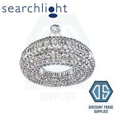 9392CC SEARCHLIGHT VESUVIUS CHROME ROUND 10 LIGHT CRYSTAL CHANDELIER, COFFIN