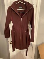 Guess Women's Belted Soft-shell Coat with Hood. Wine. Large