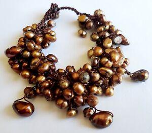 "Bronze Freshwater Pearl Bracelet 7"""