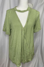Amelia James Shirt Womens Size Large L Nwt New Top Blouse V Neck Choker Collar