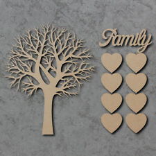 Family Tree with Hearts and Family Word 16cm H - Wooden Laser Cut mdf Craft Sign