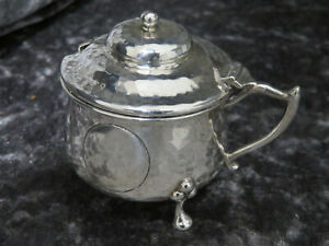 Antique Solid Silver Arts And Crafts Mustard Chester 1906