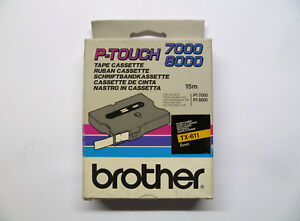 Brother Tape Cassette TX-611 Black On Yellow 0 1/4in 49 3/12ft PT-7000 PT-8000