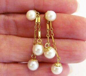 """VTG 14k Yellow Gold Drop Dangling Earrings 7mm Pearls Post Pierced 1 5/8"""" Long"""