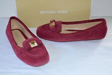 New $110 Michael Kors Caroline Moc Suede Loafer Mulberry Red sz 7