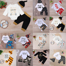 3pcs Newborn Toddler Kid Clothes Set Baby Boy Casual Cartoon Letters Romper Pant