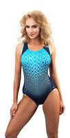 Womens Girls One Piece Swimming Costume Racerback Swimwear Swimsuit UK Size 8-18