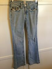 WOMENS TRUE RELIGION JEANS RAINBOW BOBBY LOW RISE JEANS SZ 25