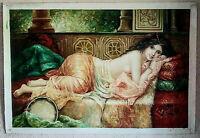 Antique Style Oil Painting Orientalist Portrait Reclining Mediterranean Woman