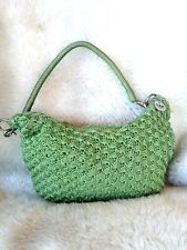 THE SAK Green Classic Crochet Zip Closure Purse Shoulder Bag Tote Spring