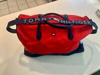 Vintage Tommy Hilfiger Spell Out Canvas Duffle Gym Bag Carry On Red White Blue