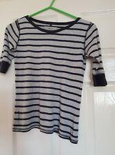 Girls Next Blue/Grey Striped 3/4 Sleeve Top Age 9