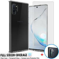 For Samsung Galaxy Note 10+ Plus Pro Clear Case Full Fit Screen Protector Glass