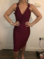 BNWT LIPSY BERRY STRUCTURED BANDAGE V NECK LACE TRIM DRESS SIZE 18 NEW STOCK IN