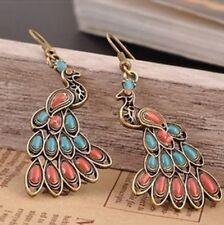 Red & Blue Peacock Boho Drop Earrings