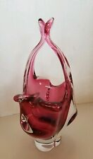 Elegant Cranberry & Clear Hand Blown Glass Handled Bowl Murano style Art Glass