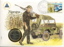 superbe enveloppe NICARAGUA pièce monnaie 1 cordoba 1984 NEW NEUVE UNC sandino