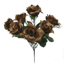 7 Open Roses Coffee Brown Soft Touch Silk Wedding Bouquet Flowers Centerpieces