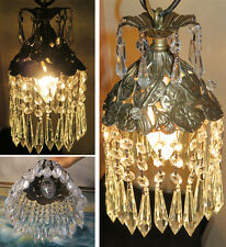SWAG filigree pierced Lamp hanging Spelter Pond Lily crystal chandelier