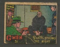 Scanlens 1951 G-MEN Trading Cards No.31 Good to Very Good Condition