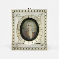 Antique Miniature Portrait Painting With Piano Key Frame
