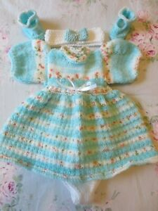 "Hand Knitted 16/17"" Reborn Baby Doll Set."