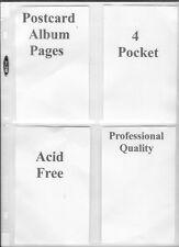 Postcards Collector Archival Acid Free 4 Pocket Postcard Album Page  20 pcs New!