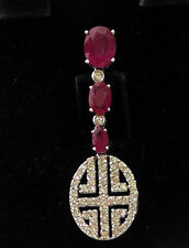18K  BEAUTIFUL RETRO 0.95CT DIAMONDS & 2.30CT RUBY RICH ELEGANT DANGLE PENDANT !